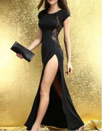 Mode kvinnor sexig lång klänning sida split tillbaka spets se-genom Slim Bodycon Fishtail Evening Party Maxi Night Out Club Dresses Street Style