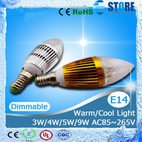 Wholesale Dimmable Led Candle Bulb 3w - Dimmable Epistar 3W 4W 5W 9W E27 E14 LED Lamp Candle Bulb Light Sliver Golden CE&ROHS Warm White  Cool White wu
