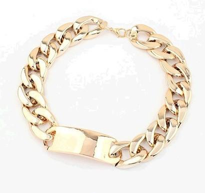 Blandad silver svart guld twisted chunky kedja mode damens polska uttalande choker krage halsband högkvalitativ / parti