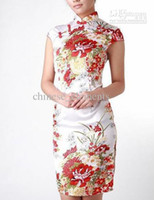 Wholesale Chinese classical dress cheongsam outfit knitting flexibly self cultivation cake Qipao dress white black red QP228