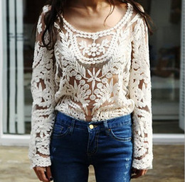 lace crochet tee t shirt top UK - Fashion Womens Sexy Lace Sheer t-shirts Semi Embroidered Crochet Blouse Tops Long Sleeve Tee T-shirt gifts