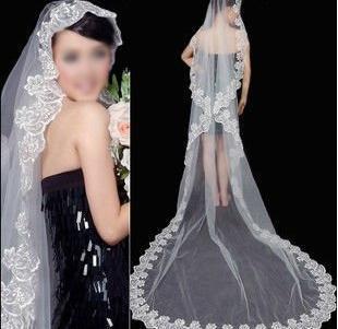 Gratis frakt Bästsäljande 3 meter Lace Wedding Veil, Bridal Veils Head Veil