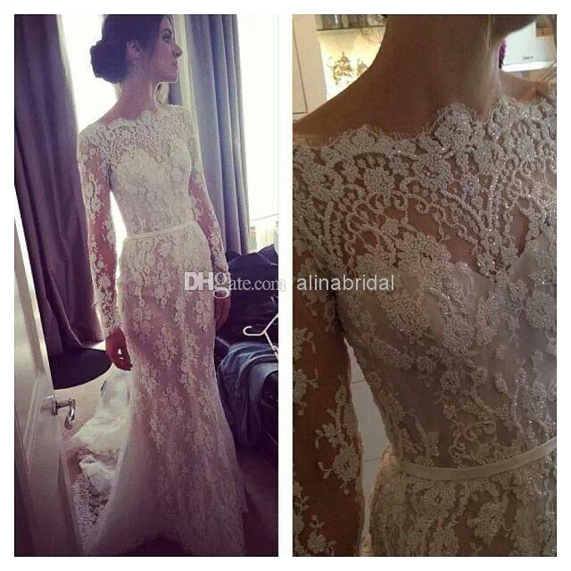 2018 Sheer Wedding Dresses Beteau Long Sleeve Sheath Chapel Train Modern Lace Bridal Gowns Steven Khalil New Arrival Elegant Dress W319