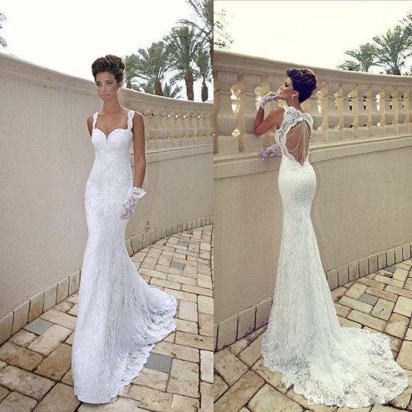 best selling 2014 vestido de noiva Sexy Spaghetti Sweetheart White Ivory Lace Open Back Mermaid Sheath Backless Summer Beach Wedding Dresses Bridal Gowns