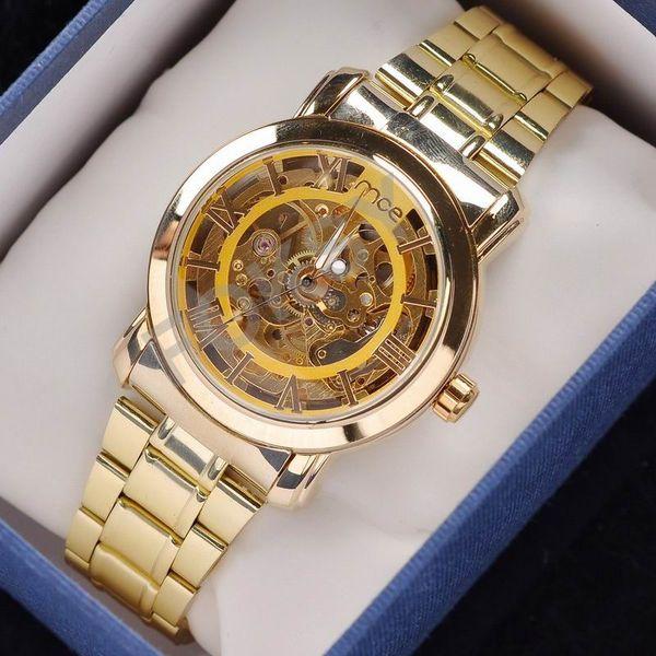 Reloj mecánico libre del viento de la mano esquelética del oro del envío del envío, vestido para los hombres / los relojes de las mujeres, ganador original de la marca