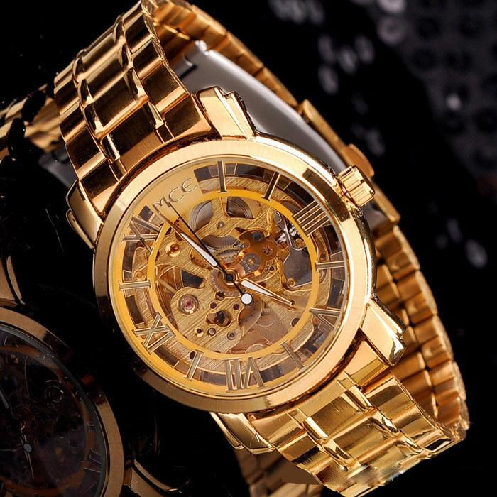Free Shipping New Gold Timepiece Army Military Automaical Mens Mechanical Wrist Watch