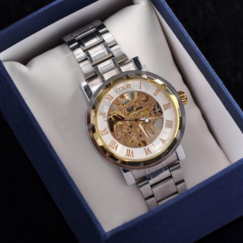 Free Shipping Silver See Through Skeleton Dial Men Women Mechanical Wrist Watch -Lucky Watch