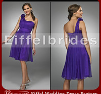 Wholesale Beauty Hands Blue - 2016 Latest Bridesmaid Dress Royal Purple with A Sexy Beauty Flowers Sheer One-shoulder and Glamorous Back Knee-Length Chiffon Party Dresses