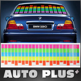 Wholesale Equalizer Sound Activated Flashing - 90 x 25cm Sound Music Activated EL Sheet Car Sticker Equalizer Glow Flash Panel LED Multi Color Decorative Light Car Accessories K823