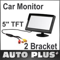 "Wholesale Reverse Sensor Digital - 5"" Digital Color TFT 16:9 LCD Car Reverse Auto Monitor 2 Bracket Holder for Rearview Camera DVD VCR Multi-language Russian K917"