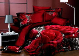 Wholesale King Size Bedding Sets Roses - 3D Red rose printed with Queen King size bedding set ,3D bedding,Bed sheet bed linen sabanas ropa de cama