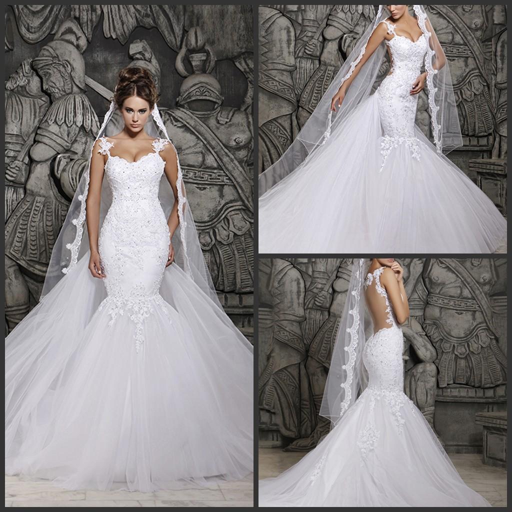 Vintage Wedding Gowns Uk: 2014 Vintage Sheer Illusion Back Mermaid Backless Ruffled