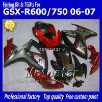 Wholesale Oem Fairings - OEM Injection molding fairings kit for SUZUKI 2006 2007 GSXR 600 750 K6 GSXR600 GSXR750 06 07 R600 R750 red gray bodywork fairing ee28