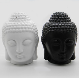 Wholesale candles containers - Dia 6*15cm Creative Buddha Head Ceramic Essential Oil Burner Aroma Fragrance Container Candle Holder Souvenir Gift DC812