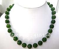facettierte edelsteine großhandel-Edler Schmuck Charmant !! 12mm die Smaragd Faceted Edelstein Halskette 20inches
