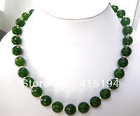 Wholesale Gemstone Pearl Necklace - Fine jewelry Charming!! 12mm the Emerald Faceted Gemstone Necklace 20inches