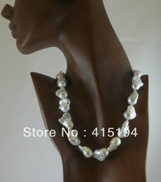 String fine online shopping - New Fine pearl jewelry Genuine inches mm Baroque White Pearls Necklace k White Gold