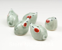 Wholesale porcelain animal beads - Porcelain Beads, animal styles,mouse design ,ceramic beads,mixed color, sold per bag of 15 pcs