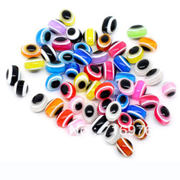 Wholesale Evil Eye Round Resin Beads - Free Shipping 500pcs Mixed Multicolor Evil Eye Stripe Round Resin Beads(W00829)
