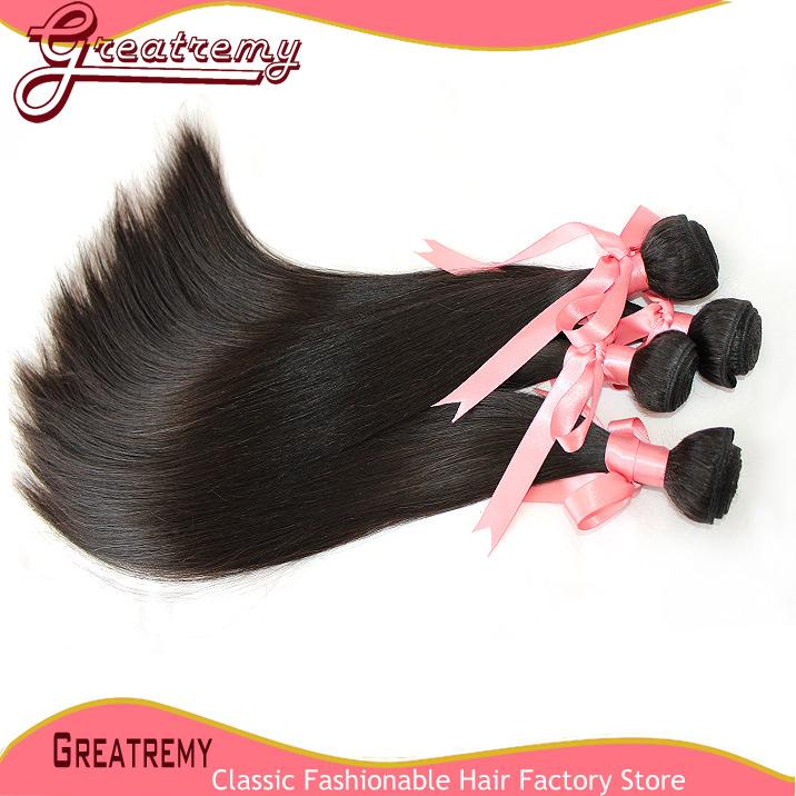Greatremy® 100% Brazilian Virgin Hair Bundles Silky Straight Mix Length Human HairWeaves Hair Extensions Natural Color