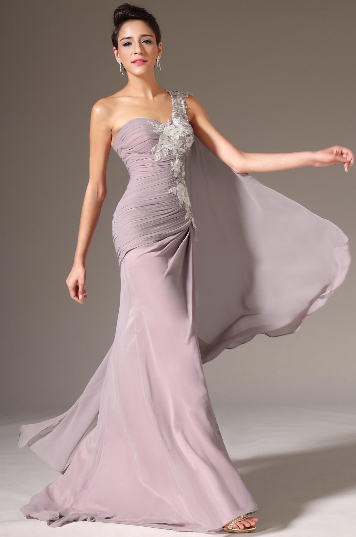 Hett puffy sjöjungfru golvlängd chiffong en axel kväll klänningar vit spets billig prom klänningar band gratis frakt kväll klänningar lång