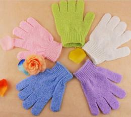 Wholesale Exfoliating Body - 200pc 5 color nylon body cleaning shower gloves Exfoliating Bath Glove Five fingers Bath Gloves 15.5*15.5cm J145