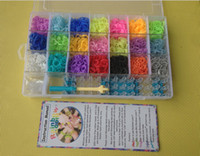 Wholesale Clear Plastic Bracelets - rainbow loom kit clear plastic box for Kids DIY bracelets -come with 4200ps rubber bands, 100 clips, 1 hook