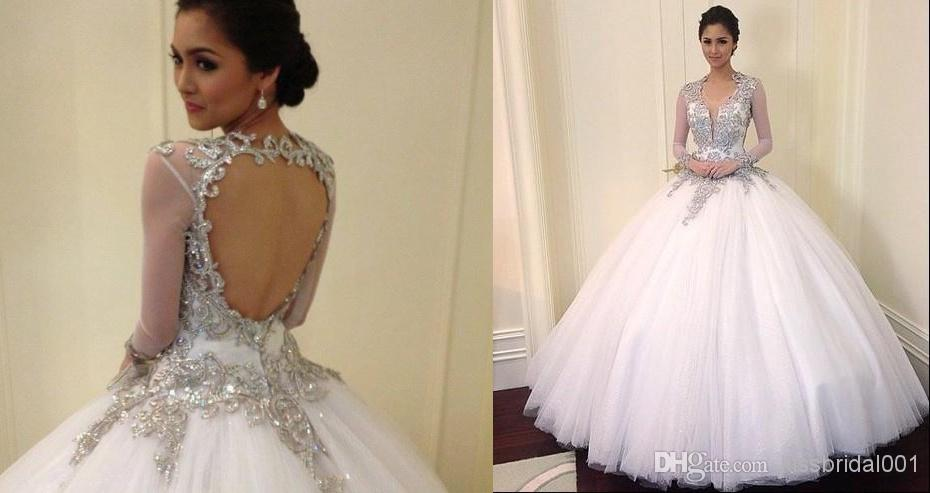 Dreamlike 2014 Sheer Backless Wedding Dresses Applique Beads Sequins ...