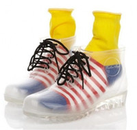 2014 Nuevo Estilo PVC Transparente Womens Clear Flats Heels Water Shoes Mujer Rainboot Martin Rain Boots