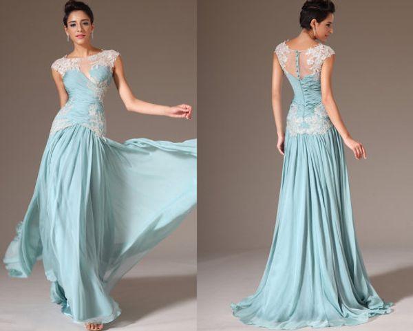 Elegant Royal Blue Prom Dresses Embroidery Lace Cap Sleeve Long Maix Chiffon Formal Evening Party Dress