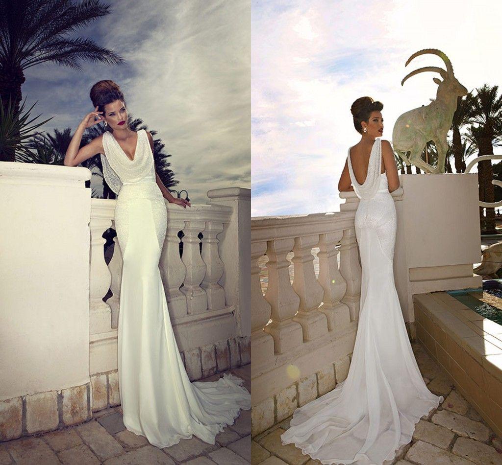 Cowl Neck Silk Sheath Wedding Gowns: 2014 Mermaid Scoop Neck Wedding Dresses Cowl Backs Beaded