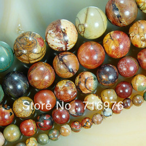 Free shipping 4mm 6mm 8mm 10mm 12mm Natural Colorful Picasso Round Beads 15.5 jewelry making DIY