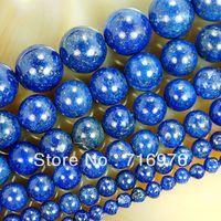perlas de lapis de 12mm al por mayor-Envío gratis 4mm 6mm 8mm 10mm 12mm 14mm Perlas de lapislázuli naturales 15.5 '' fabricación de joyas, bricolaje