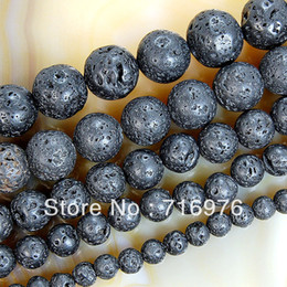 Wholesale 8mm Beads Free Shipping - Free shipping 6mm 8mm 10mm 12mm 14mm Natural Black Volcanic Lava rock Stone Round Beads 15.5''