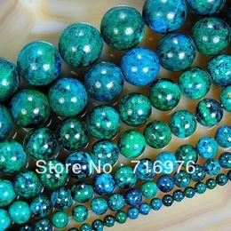 Vente en gros 4mm 6mm 8mm 10mm 12mm 14mm Chrysocolle Gemstone ronde lâche Spacer perles 15.5