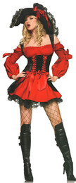 Wholesale Ladies Sex Dresses - Sex Dresses Red Pirate Costume Sexy Fashion New 2015 Halloween Costumes for Women Role Play Cub Wear Shows Lady Hot Sales