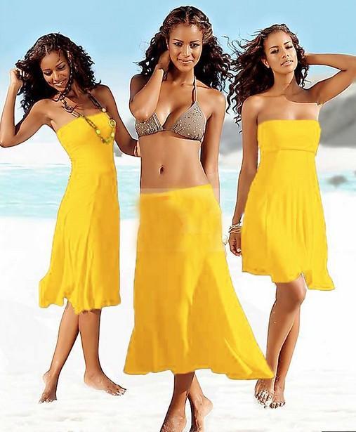 Sexiga Kvinnor Badkläder Strand Klänning Sommarskydd Upp Torka Bosm Stroplösa Klänningar Beachwear Kjol Bikini One-Piece Playsuits Baddräkt Pyjamas Låg