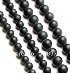 "Wholesale Dull Agate - 15.5"" Smooth round black Dull Polish Matte Onyx Agate Stone Beads 4 6 8 10 12 14mm Pick Siz Free Shipping"