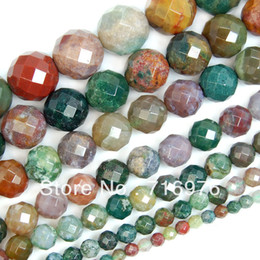 """Wholesale 14mm Round Faceted - 4 6 8 10 12 14mm Faceted Natural Indian Agate Round Beads 15"""" Pick Size Free Shipping"""