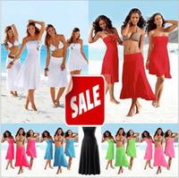 Wholesale Dress Beach Sarong Bikini - Elegent Sexy Women Swimwear Beach Dress Summer Cover Up Wipe Bosom Strapless Dresses Beachwear Skirt Sarong Bikini one-piece playsuits