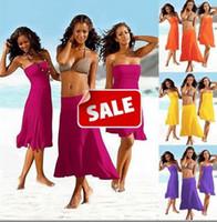 Wholesale One Piece Summer Pajamas - Sexy Women Swimwear Beach Dress Summer Cover Up Wipe Bosom Strapless Dresses Beachwear Skirt Bikini one-piece playsuits swimsuit pajamas low