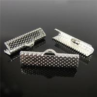 Wholesale Ribbon End Clamps - Wholesale 55pcs, 25mm Silver Plated Clips Ribbon Clamps Connectors ribbon crimp for DIY bracelet H7819