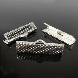 Wholesale End Clamps - Wholesale 55pcs, 25mm Silver Plated Clips Ribbon Clamps Connectors ribbon crimp for DIY bracelet H7819