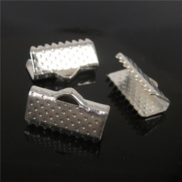 crimp end clips Canada - wholesale 110pcs, 13mm Silver Plated Clips Ribbon Clamps Connectors ribbon crimp for DIY braceletH7808