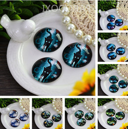Wholesale Glass Spacers - Free shipping 20mm Charm Mysterious dark night cat Pattern Round Glass Dome Cabochon Flat