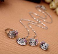 conjunto de brinco de colar de strass vermelho venda por atacado-Conjunto de jóias de moda Claro Rhinestone Rosy Red Rhinestone adorável gato anel de cristal brincos, colares, 12 pçs / lote