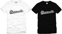 ücretsiz pamuk nakliye toptan satış-Ücretsiz kargo yüksek kalite pamuk tee yeni satış DREAMVILLE J KOL LOGOSU baskılı t gömlek hip hop tişörtlerin% 100% pamuk 6 renk