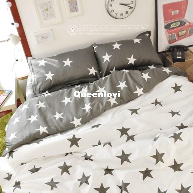 Ikea Style Bedding Sets, Gray Star Pattern Cute Bedding Sets, Five Star  Print Duvet Cover Set, Lovely Queen Bedding Black And White Duvet Cover  Queen Size ...