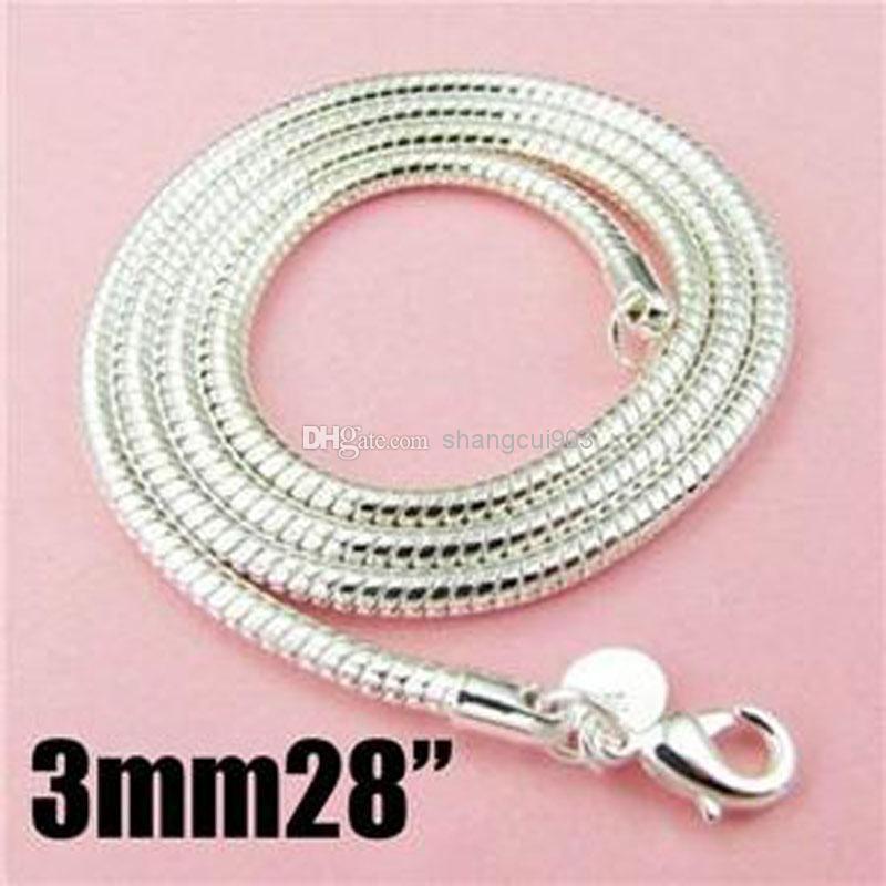 Горячие продажи 50 шт. 3 мм 28 дюймов 925 Серебряное ожерелье змея цепи ожерелье 71 см серебряные ювелирные изделия