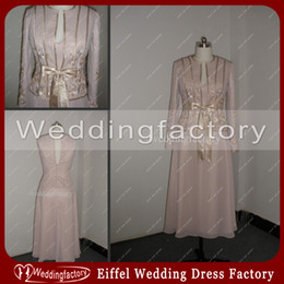 Wholesale Bride Groom Bow - Mother of the Bride Dresses A Line V-neck Chiffon Embroidery Beads Tea Length Gowns For Groom Mothers Modest Wear with Jacket